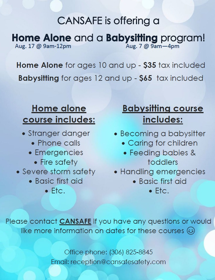 New August dates for BABYSITTING & HOME ALONE Courses