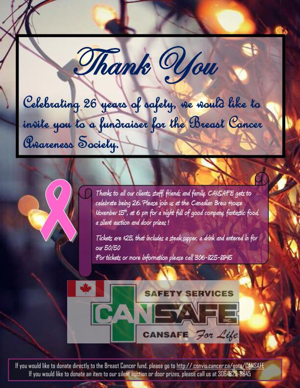 Celebrating 26 years of safety, we would like to invite you to a fundraiser for the Breast Cancer Awareness Society.
