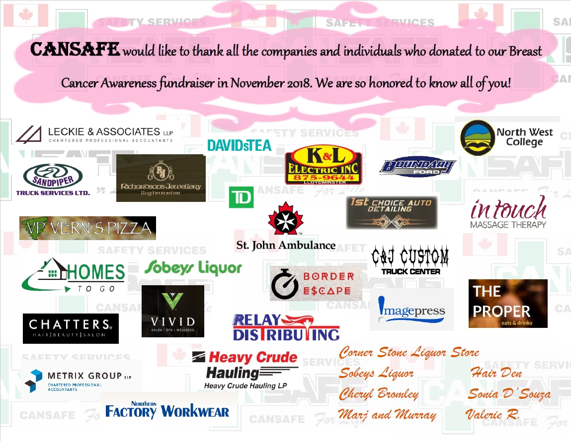 CANSAFE would like to thank all the companies and individuals who donated to our Breast Cancer Awareness fundraiser in November 2018. We are so honored to know all of you!