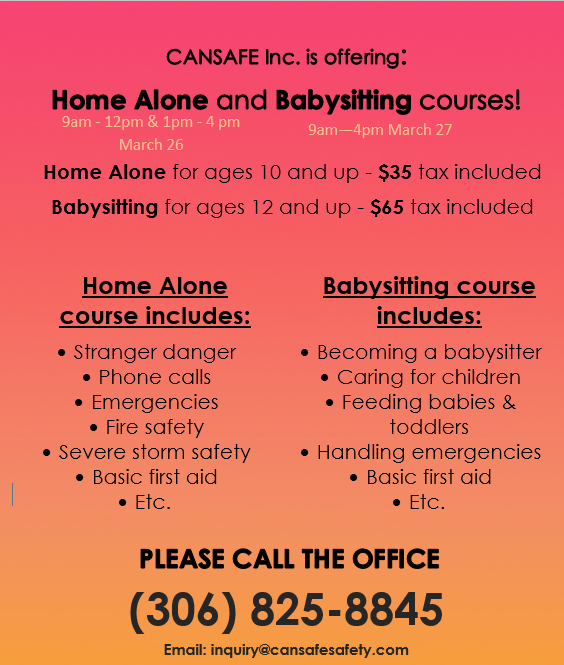 BABYSITTING & HOME ALONE COURSES March 26 & 27, 2020