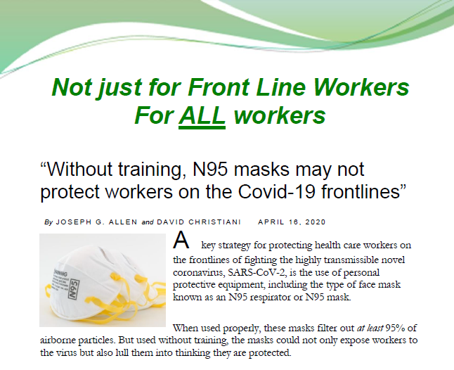 """Without training, N95 masks may not protect workers on the Covid-19 frontlines"""