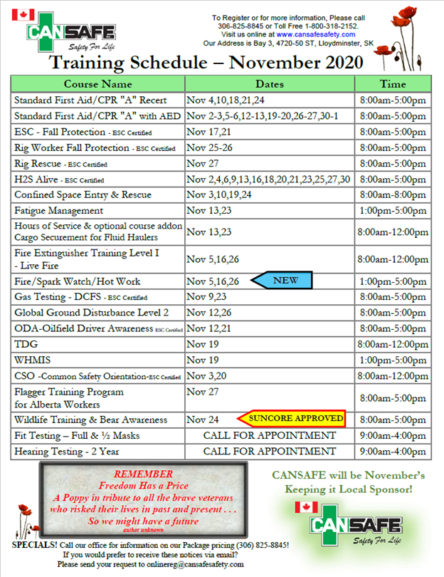 Training Schedule November & December2020