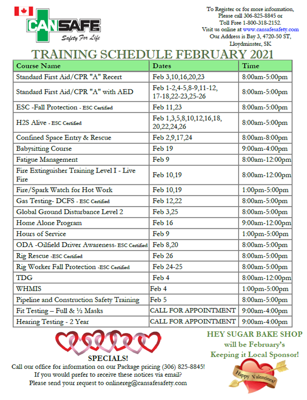 February 2021 Training Schedule