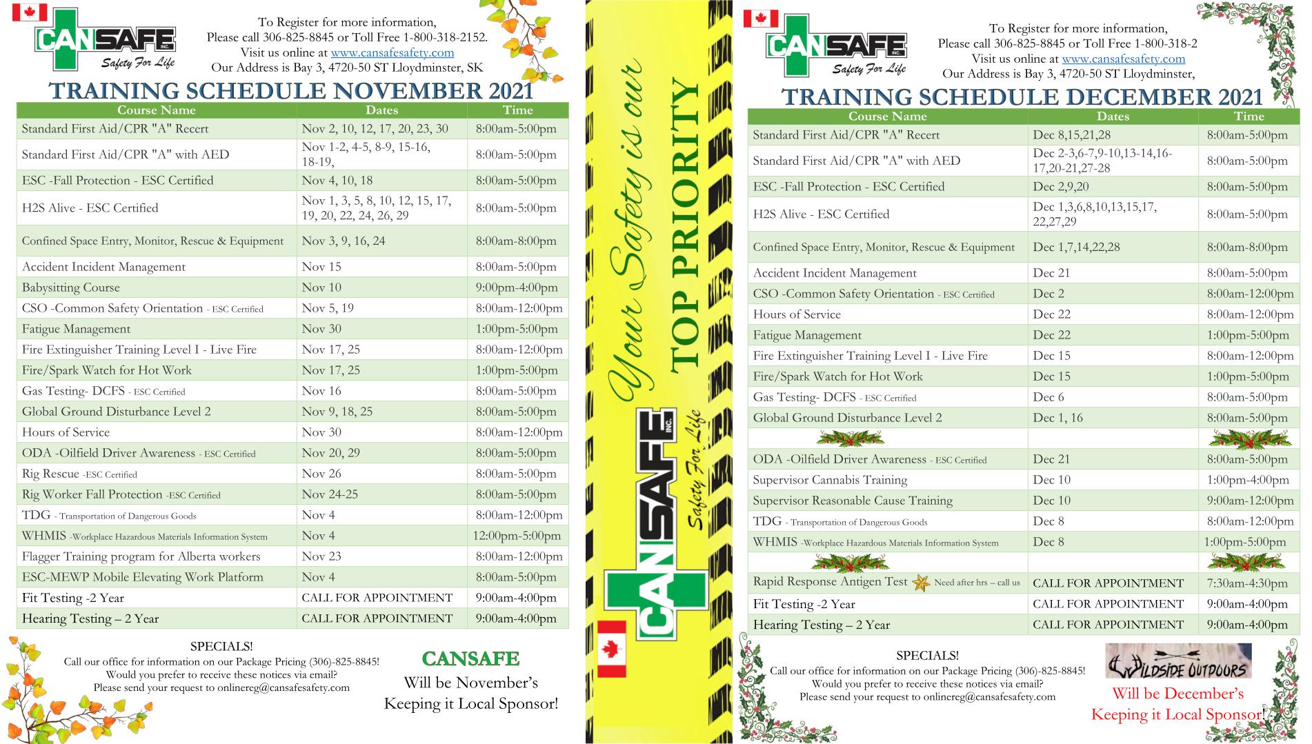 October – December 2021 Training Schedule